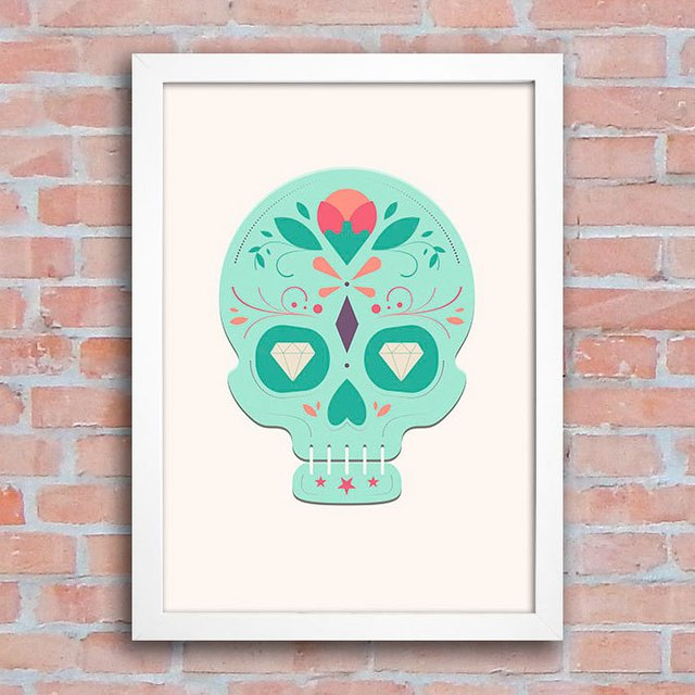 Poster Mexican Sugar Skull Green na internet