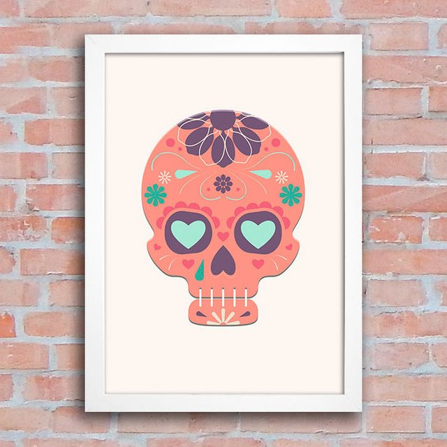 Poster Mexican Sugar Skull Orange na internet