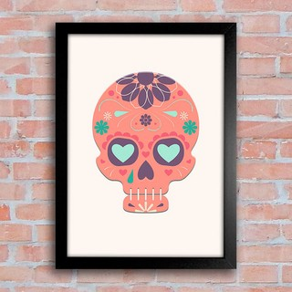 Poster Mexican Sugar Skull Orange - comprar online