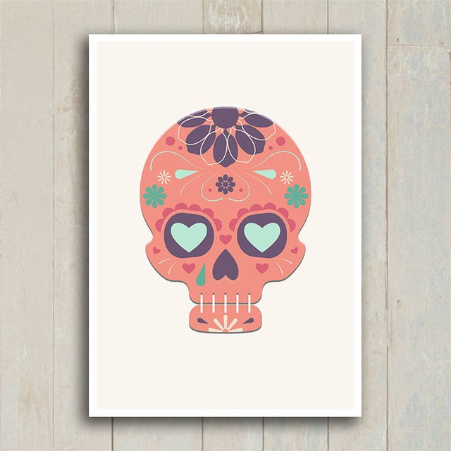 Poster Mexican Sugar Skull Orange - Encadreé Posters