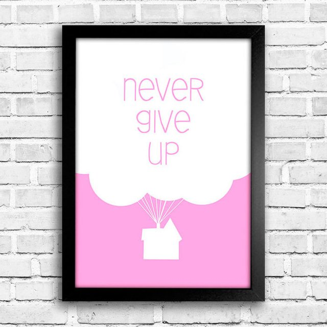 Poster Never Give Up Rosa - comprar online