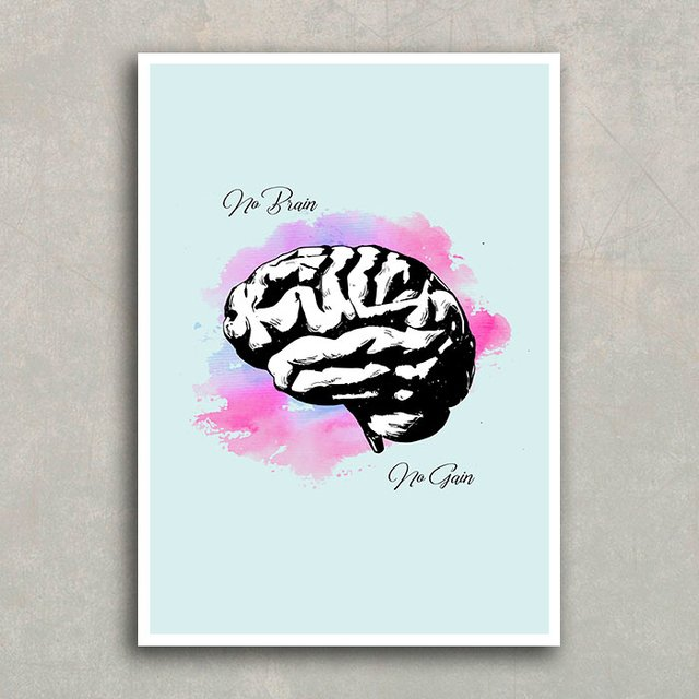 Poster No Brain No Gain na internet