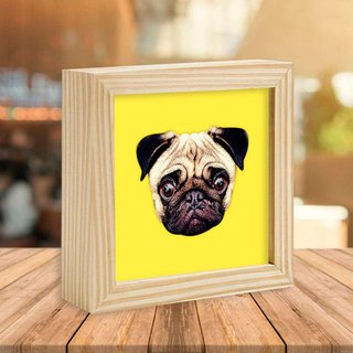 Quadro Box Pug Yellow - Encadreé Posters