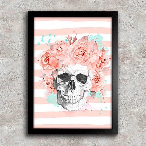 Poster Skull Flowers Living Coral II