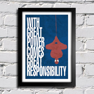Poster Cinema - Homem Aranha - With Great Power Comes Great Responsibility na internet