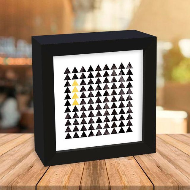 Quadro Box Triangles Black and Yellow