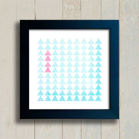 Quadro Triangles Pink and Blue - comprar online