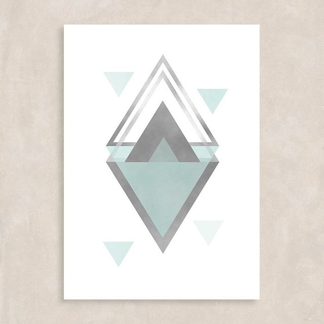 Poster Blue Triangles I - Sem Moldura