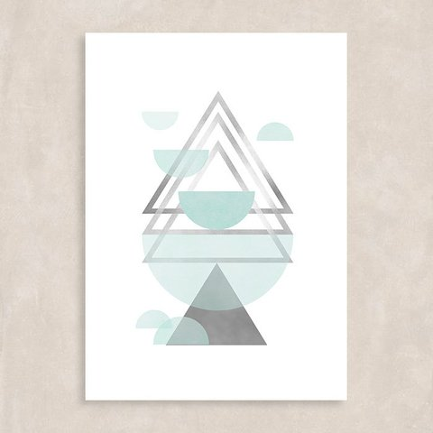 Poster Blue Triangles II - Sem Moldura