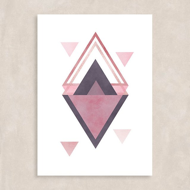Poster Rose Triangles I - Sem Moldura