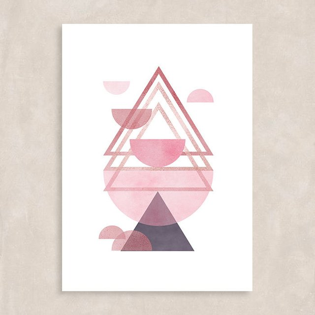 Poster Rose Triangles II - Sem Moldura
