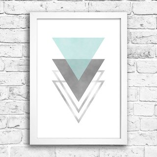 Poster Triangles Blue & Grey I na internet
