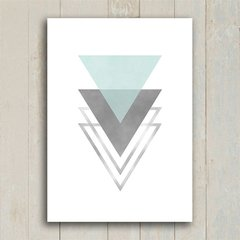 Poster Triangles Blue & Grey I - Encadreé Posters