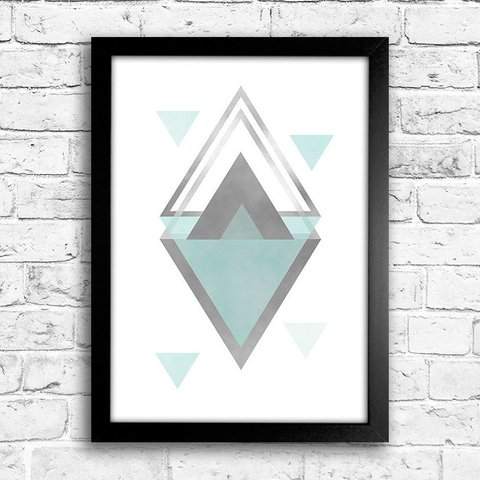 Poster Triangles Grey & Blue II