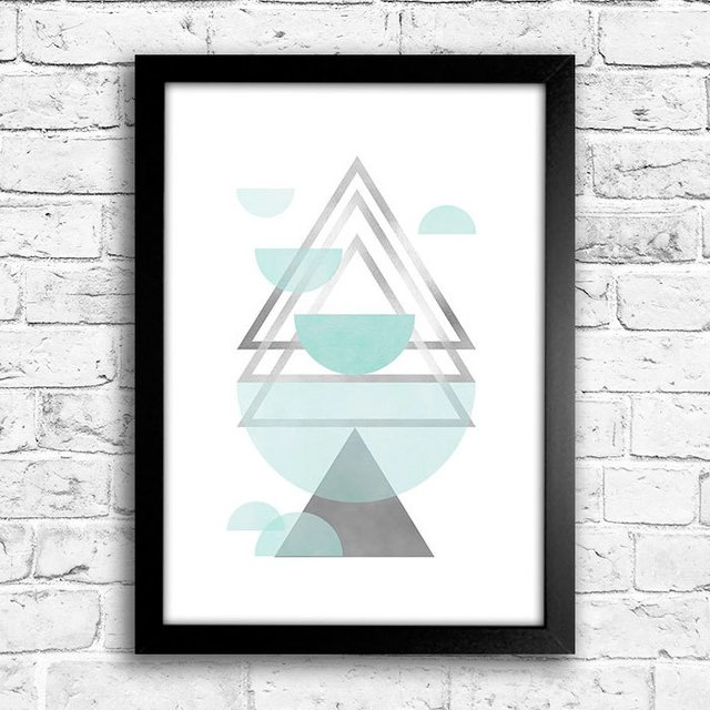 Poster Triangles Blue & Grey III - comprar online