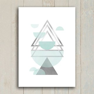 Poster Triangles Blue & Grey III - Encadreé Posters