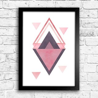 Poster Triangles Rose & Purple II