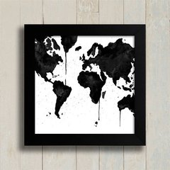 Quadro Watercolor Black Map