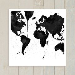 Quadro Watercolor Black Map - comprar online