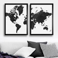 Kit Watercolor World Map B&W