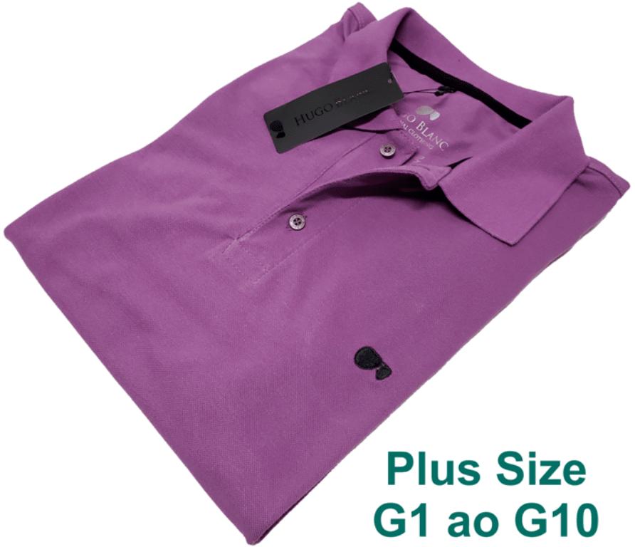 62bf218289a41 Camisa Polo Hugo Blanc Plus Size Lilas 766