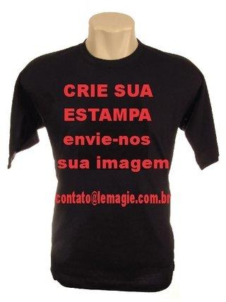 Camiseta Personalizada Preta em 100% Algodão (com 1 estampa) - Crie sua  Camiseta f247031ed125e