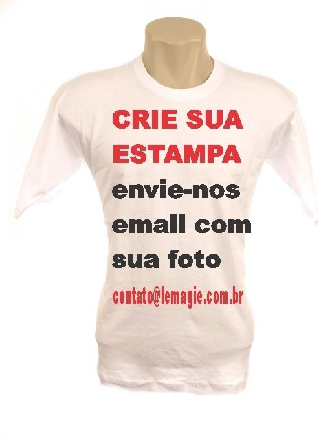 Camiseta Personalizada Branca em 100% Poliéster - Crie Sua Estampa 78d3d548f634b