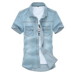 Camisa Casual Grand Jeans Manga Curta