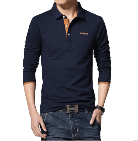 Camisa Polo Casual Manga Longa MD03