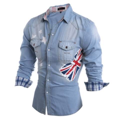 Camisa Casual  Jeans Long Sleeve