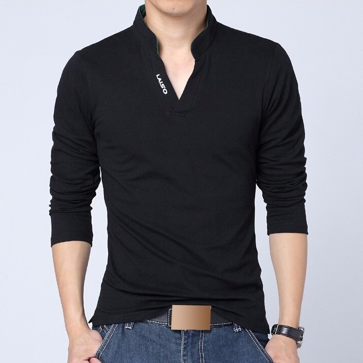 Camisa polo casual masculina manga longa for Full black t shirt