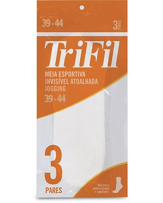 Kit com 3 pares de meias esportivas invisível Trifil