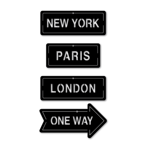 Carteles Ciudades x 4 New York, Paris, London y One Way