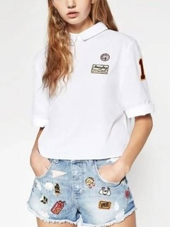 Blusa Gola Peter Pan com Patches - Ref.892