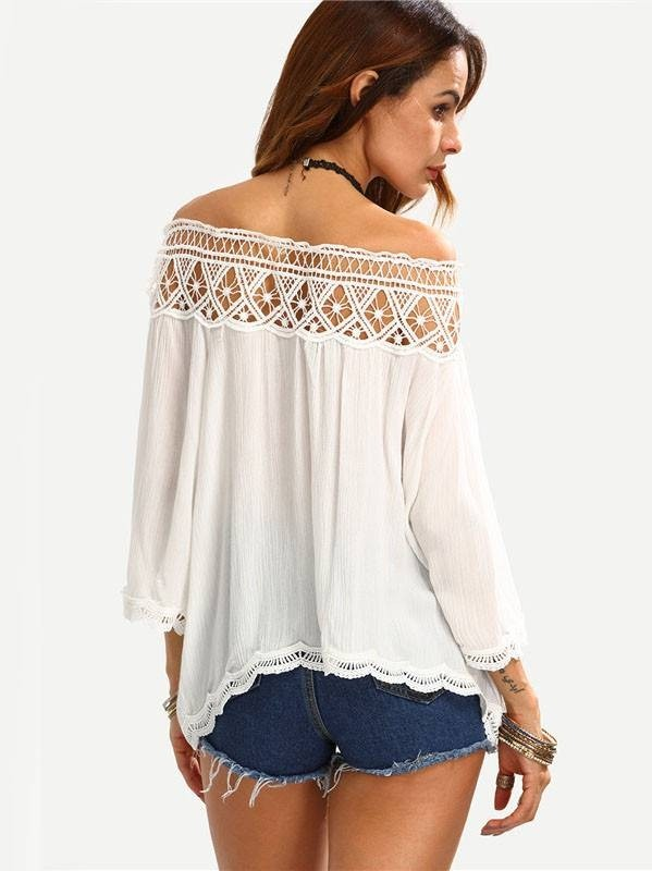 Blusa com Renda no Decote - Ref.855 na internet