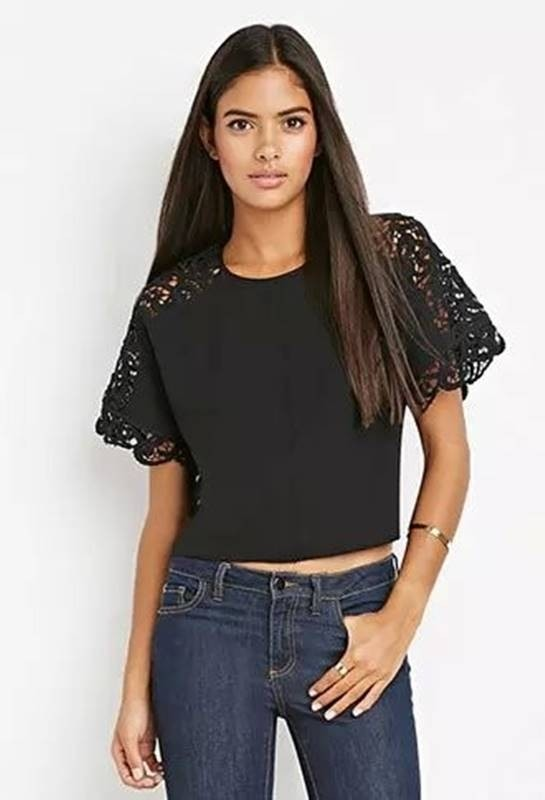 Blusa Cropped com Renda ns Ombros - Ref.700 - DMS Boutique