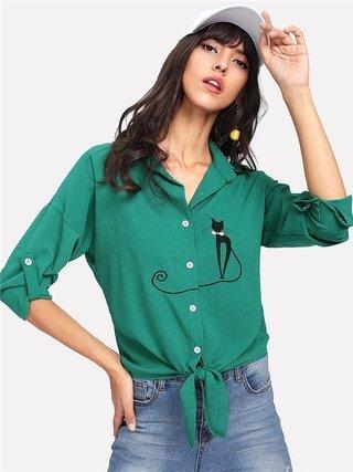 Camisa com Gatinho Bordado - Ref.1185