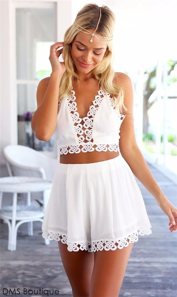 Conjunto Cropped e Short  Branco 1
