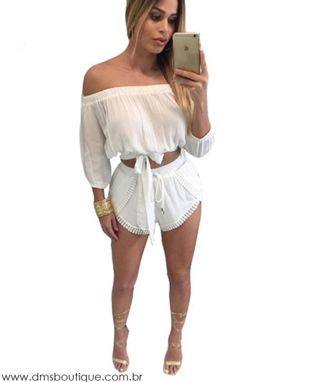 Conjunto blusa ciganinha e short compre online dms boutique