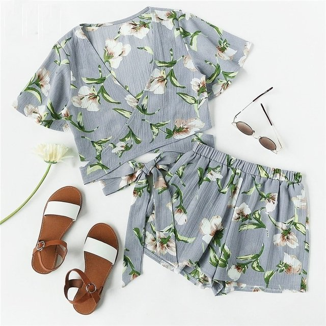 Conjunto Top e Short Estampado Floral - Ref.119
