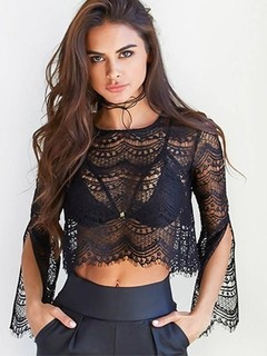 Cropped Top de Renda Preto - Ref.888