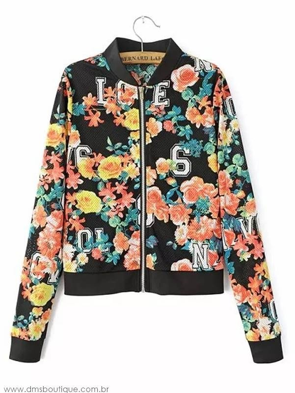 Jaqueta Bomber Floral College - Ref.078 na internet