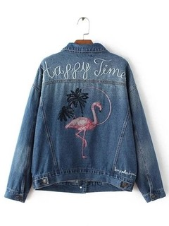 Jaqueta Jeans Flamingo Bordado - Ref.0114 na internet