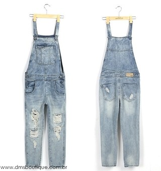 Jardineira Jeans Destroyed - Ref.174 na internet