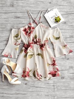 Macaquinho Floral Off Shoulder