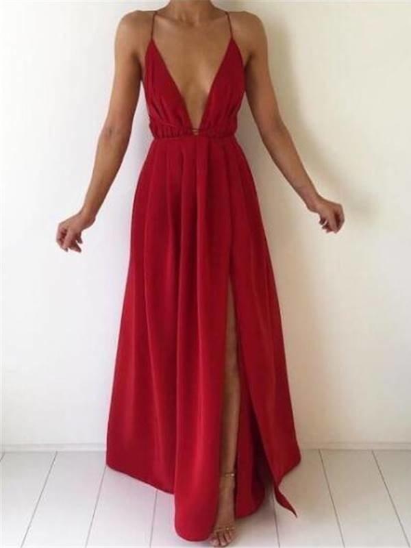 021fd8452 Vestido Longo com Decote e Fenda | DMS Boutique