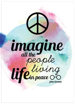 "Lamina ""imagine all the peoples living life in peace"""