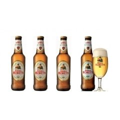 90b498e1f279a Cerveja Italiana Birra Moreti Kit 4 Long Neck 330ml+ 1 Copo