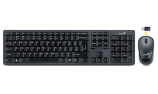 TECLADO + MOUSE GENIUS  SLIMSTAR 8000 WIRELESS USB BLACK - comprar online