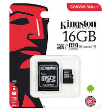 MICRO SD 16GB KINGSTON CANVAS CLASE 10 SDHC/SDXC - comprar online